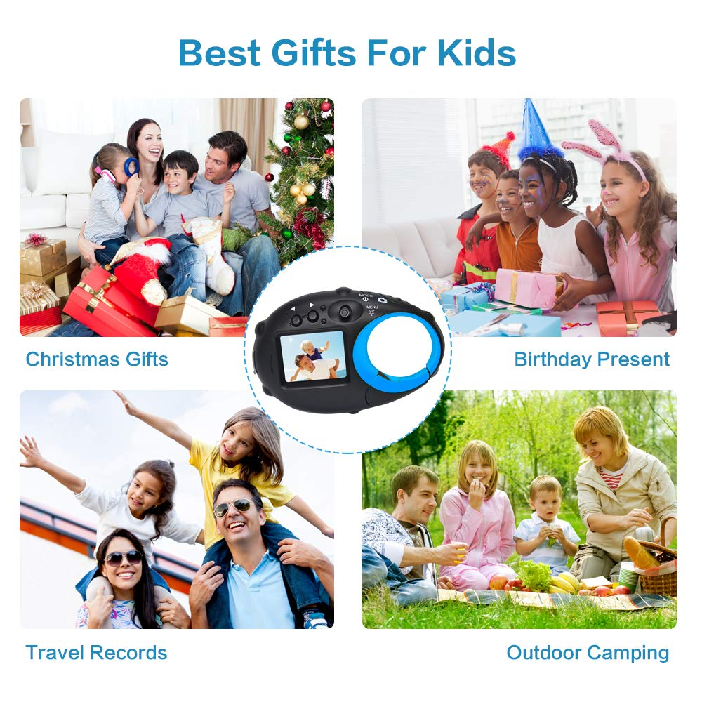 ISHARE Kids Camera Cute Camera 12MP 4× Digital Zoom Digital Camera with Video for Girls and Boys,Blue(Kids Camera with Photo Frame) by ISHARE (Image #2)