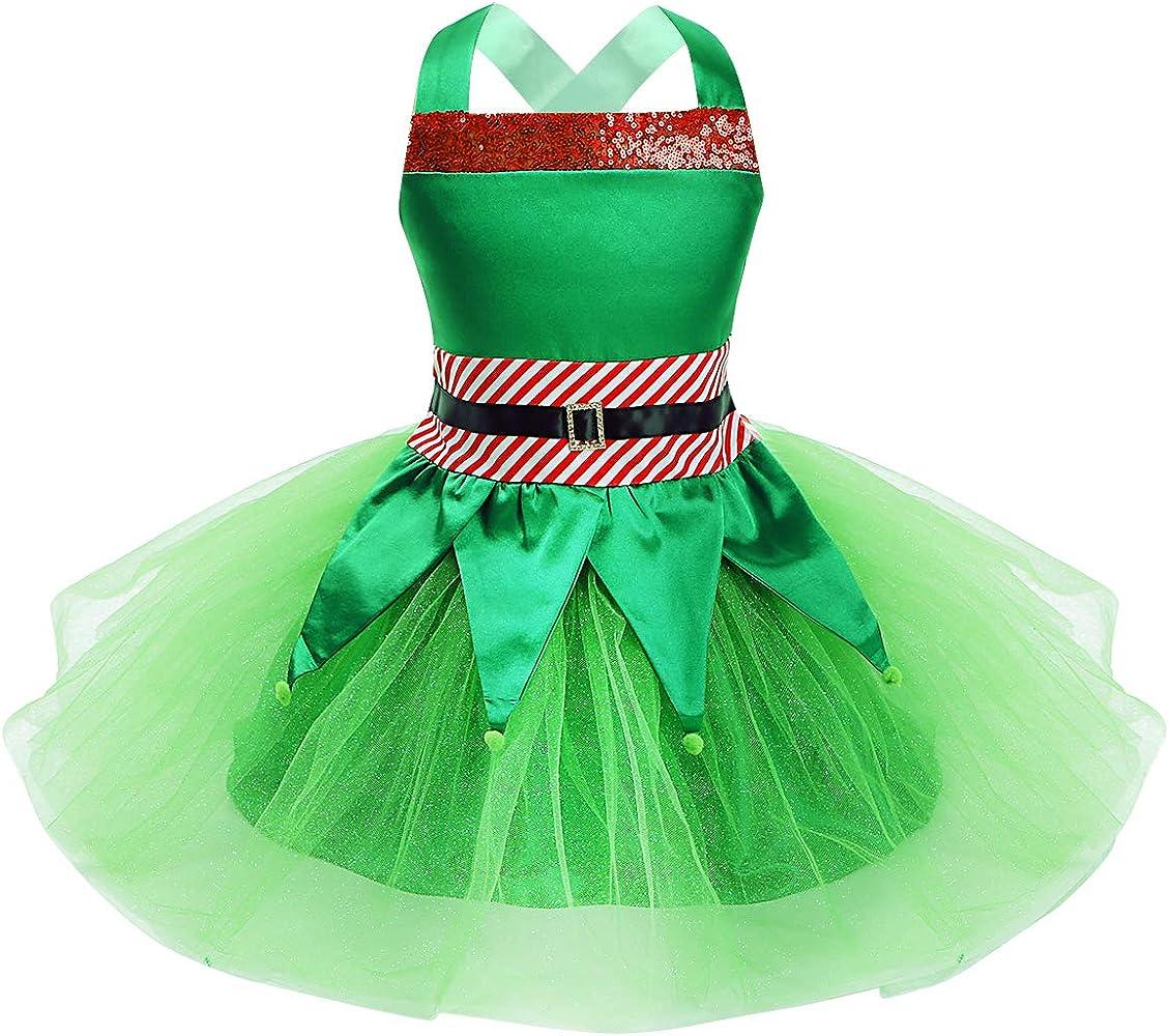 MSemis Disfraz de Duende para Niñas Vestido Duende Navideño Tutú ...