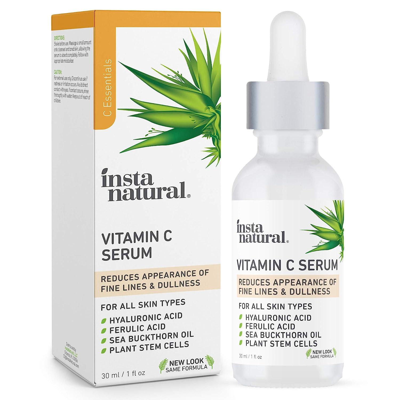 InstaNatural Vitamin C Serum with Hyaluronic Acid & Vit E - Natural & Organic Anti Wrinkle Reducer Formula for Face - Dark Circle