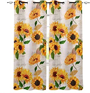 T&H Home Draperies & Curtains Set, Elegant Curtain by, Sunflower with Newspaper Background Window Curtain, 2 Panels Curtain for Sliding Glass Door Patio Door Bedroom Living Room, 80