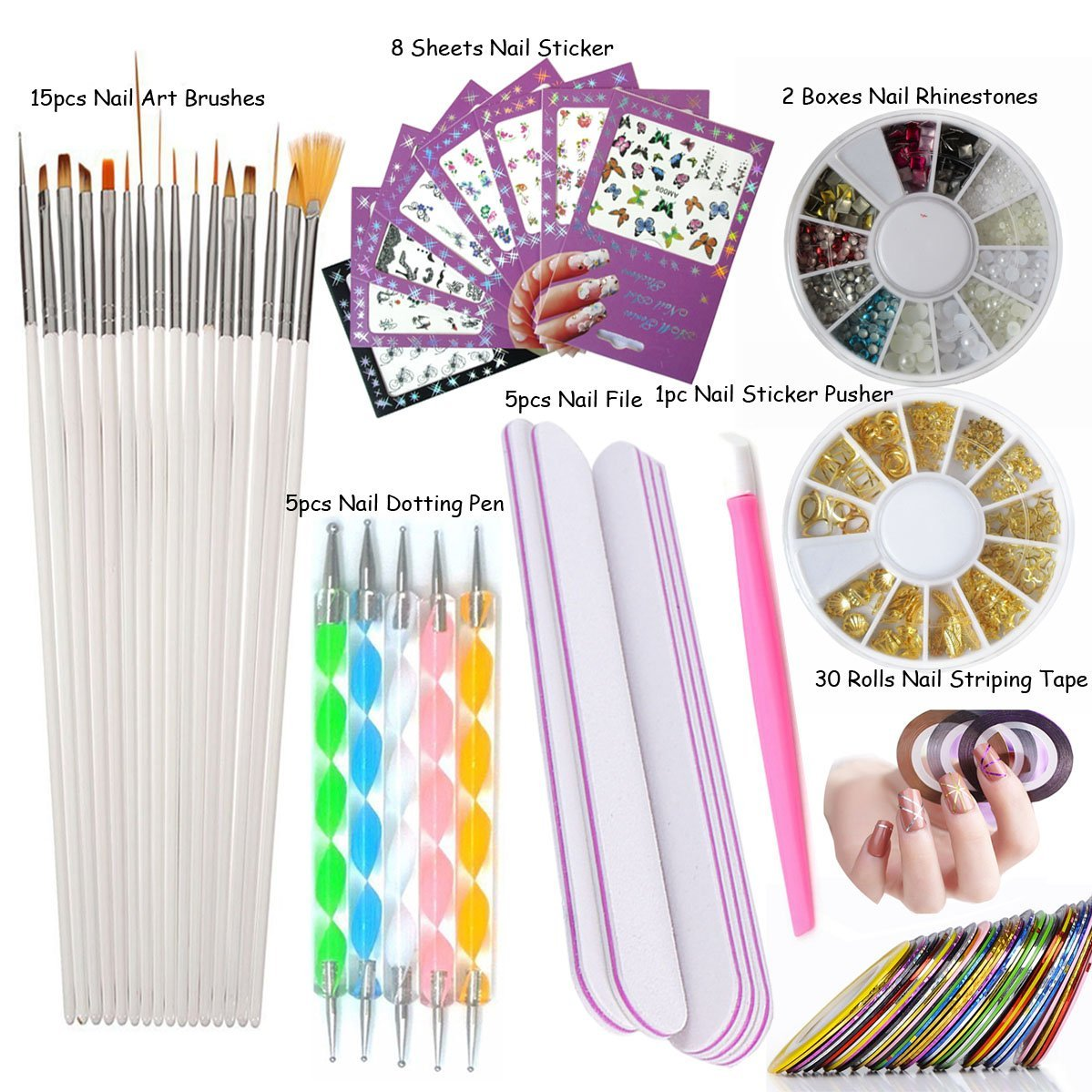 26pcs/set Nail Polish Stencil Toe Separators Varnish Protector Holder Finger Nail Art Design Tips Cover Shield Manicure Tools + Sticker (LOH103SET) LoveOurHome