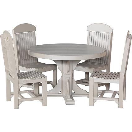 Miraculous Amazon Com Luxcraft Recycled Plastic 4Ft Round Table Set Home Remodeling Inspirations Basidirectenergyitoicom