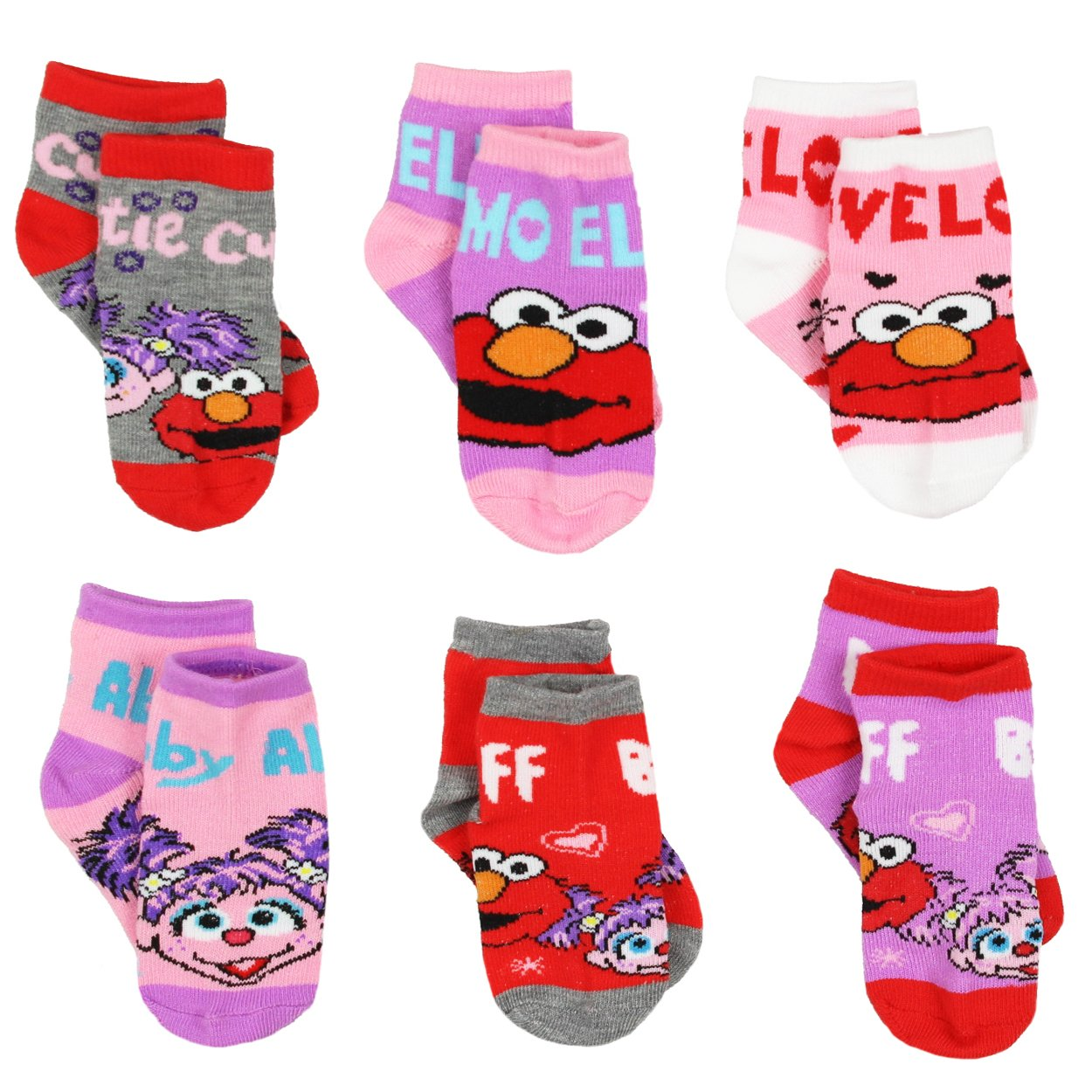 Sesame Street Girls 6 pack Quarter Socks (2-4 Toddler (Shoe: 4-7), 6 pk Elmo Abby)