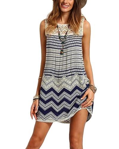 Vestiti Spiaggia Donna – BienBien Vestito Senza Maniche Abito di Pizzo Boho Chic Mini Dress a Righe Vintage