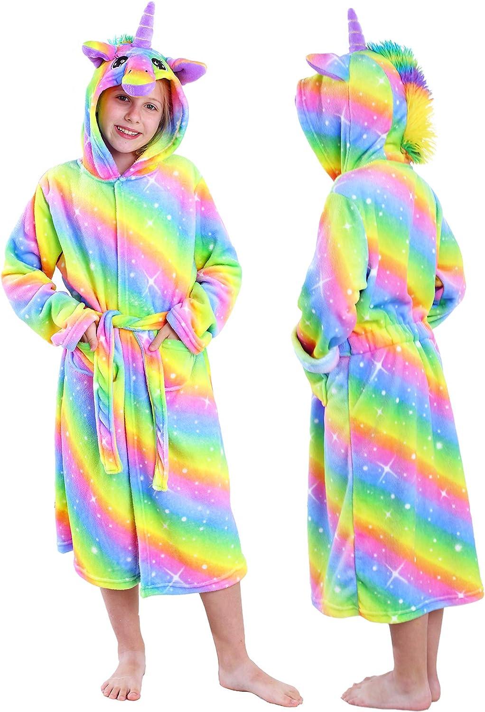 Unicorn Robe for Girls Hooded Bathrobe Soft Flannel Kids Bath Robe Unicorn Gifts for Girls
