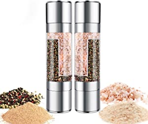 Salt and Pepper Grinder Set of 2, Refillable 2 in 1 Salt and Pepper Shakers with adjustable Coarseness, Acrylic Salt and Pepper Shakers with Ceramic Mechanism