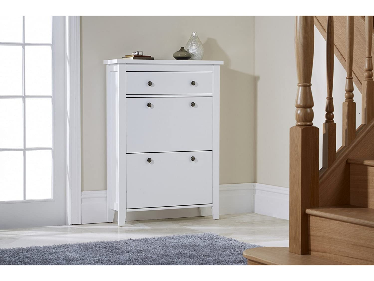 Charmant Shoe Storage Wood Cabinet Deluxe With Storage Drawer Cotswold In White:  Amazon.co.uk: Kitchen U0026 Home