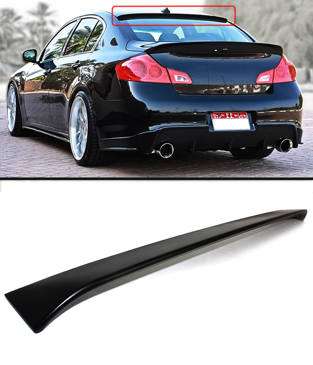Cuztom Tuning for 2007-2015 Infiniti G35 G37 Q40 4DR Sedan Primer Black JDM  VIP Rear Window ROOF Spoiler Wing