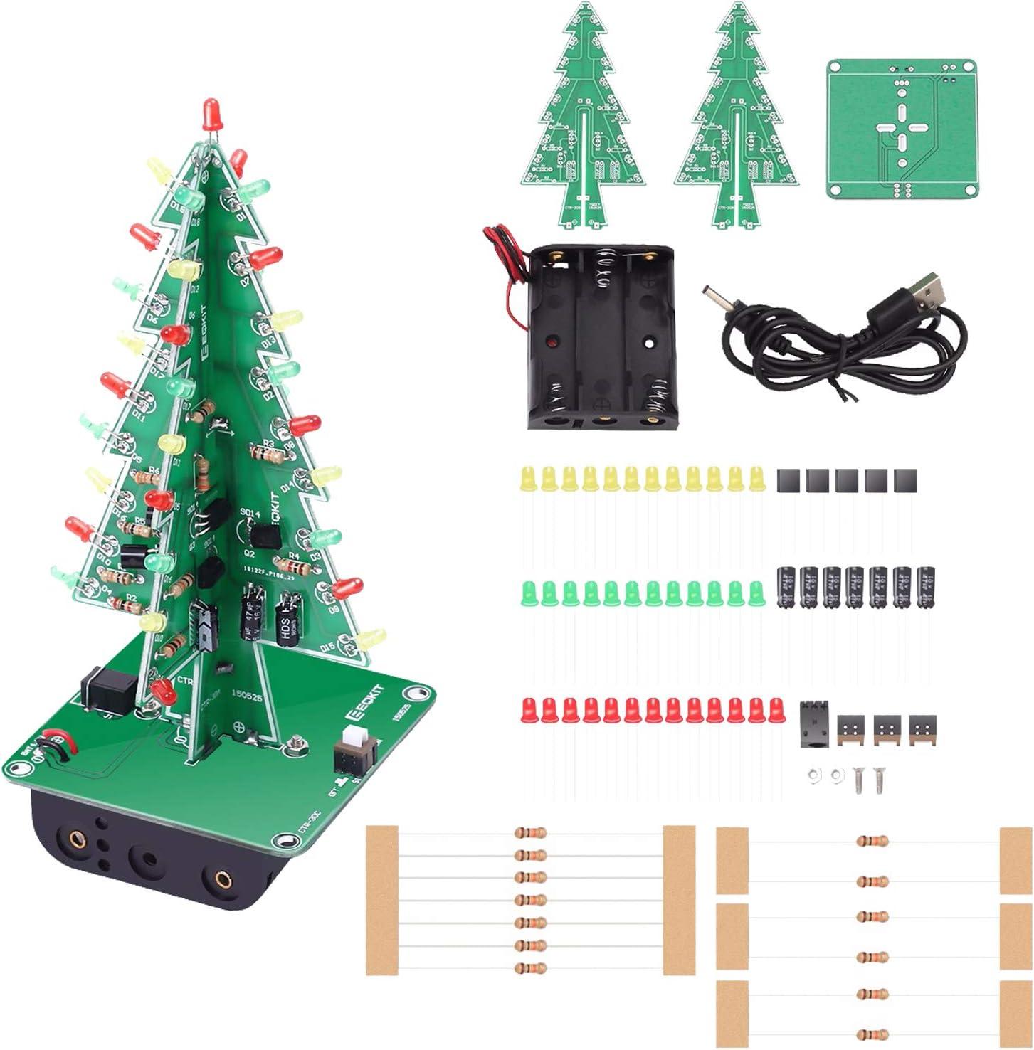 3D Xmas Tree DIY Kits 7 Color Colorful Light Flash LED Circuit Christmas Trees