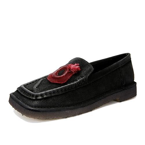 Mocasines Cuadrados de tacón bajo otoño Mujer Planos de mocasín de Moda de Cuero Genuino de la Vendimia Zapatos Casuales de Suela Blanda: Amazon.es: Zapatos ...