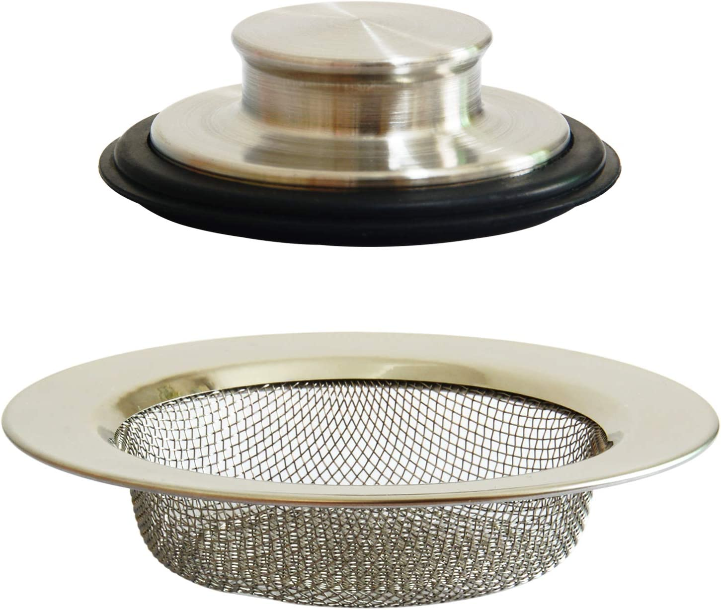 2PCS Professional Sink Stopper and Strainers, Kitchen Sink Drain Strainer Basket, Garbage Disposal Stopper, Stainless Steel Filter, Anty Clogging Mesh Plug Cover for Most Drain Standard 3-1/2 Inch