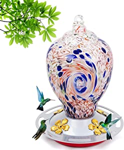Hummingbird feeders for Outdoors, 28 Ounces Nectar Capacity Hummingbird Feeder with Upgraded Round Stand and 4 Feeding Ports, Handmade Glass Wild Bird feeders for Outdoors Hanging in Garden, Yard