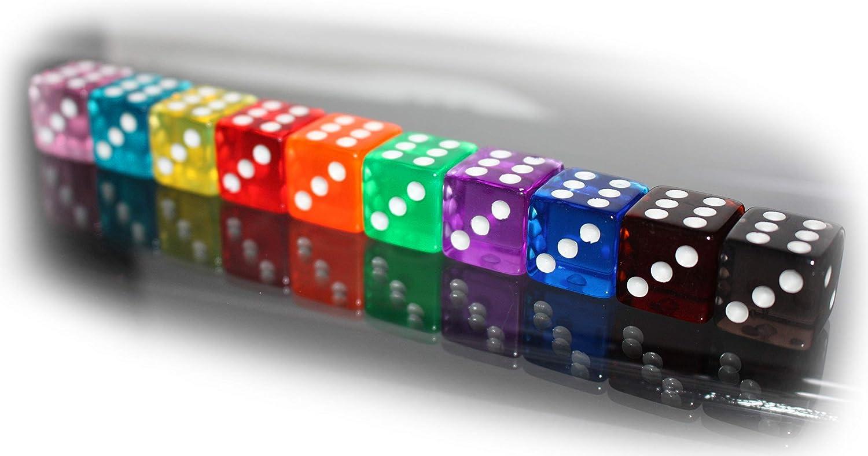 """Würfel-Set /""""Rainbow/"""" 10 x Casino Würfel-W6-Augen-tranparent-Regenbogen-Lernspiel"""