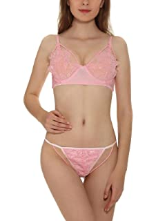 8793e27b25 Yulee Women Sexy Lace Floral Sheer Soft Unlined Underwire Bra G-String Set