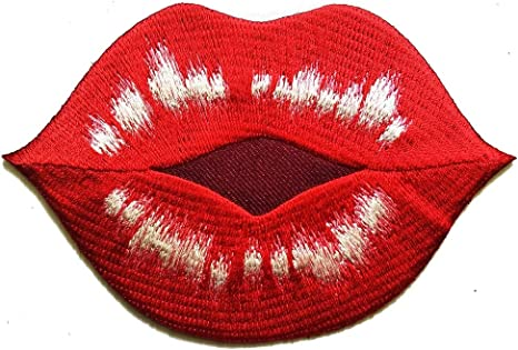 Lipstick /& Lips Makeup 2PC Red Sequin Embroidered Iron On Applique Patch