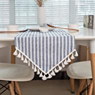 ColorBird Tassel Table Runner Striped Cotton Linen Runners for Kitchen Dining Living Room Table Linen Decor (12 x 86 Inch, Blue)