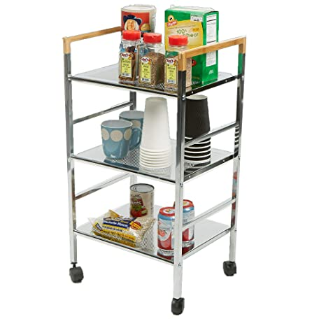 6baf3158e364 Mind Reader 3MTCART-SIL 3 Tier Top Shelf Cart, Silver