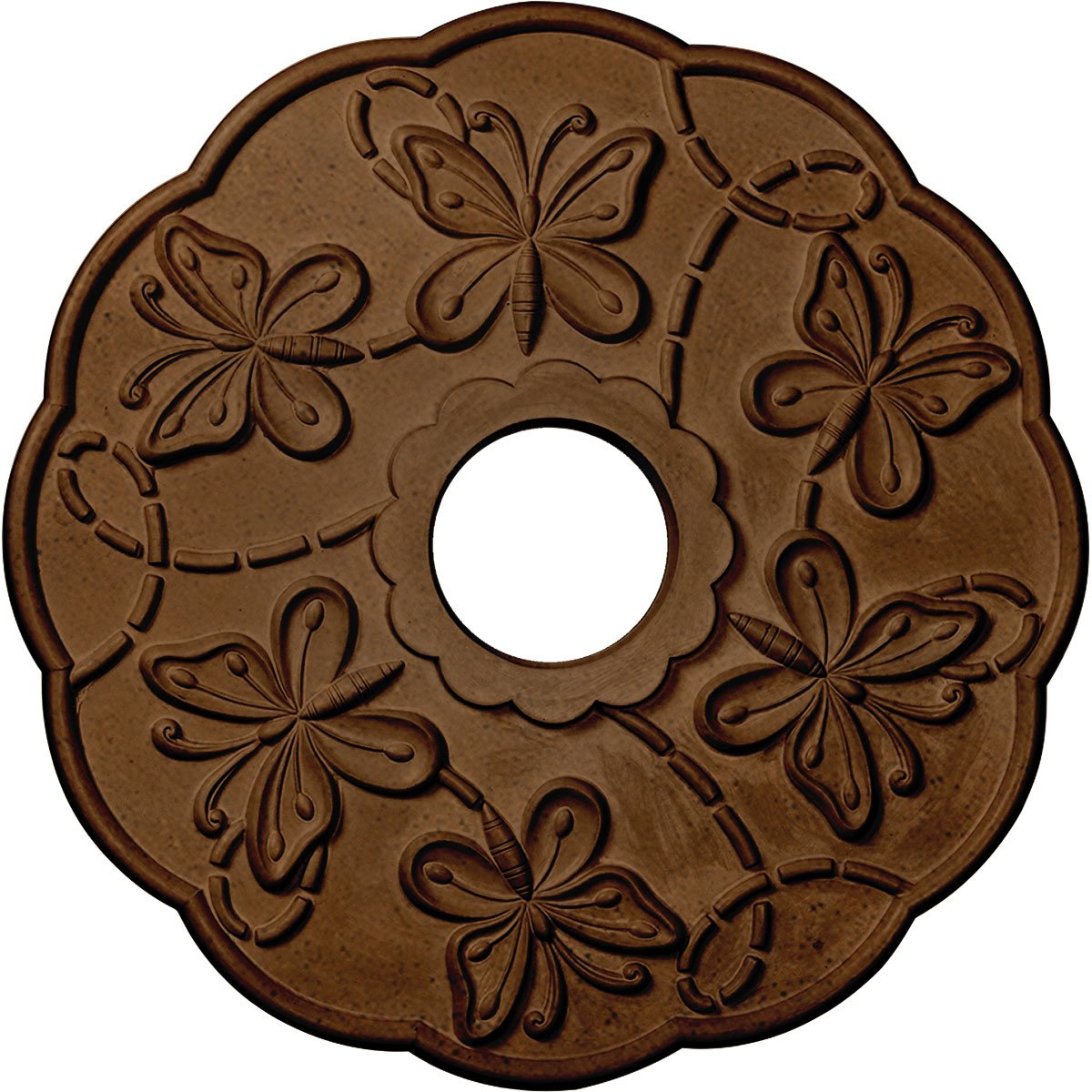 Ekena Millwork CM17TSRZS Terrones Butterfly Ceiling Medallion, Rubbed Bronze