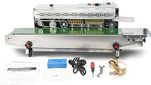 Automatic Continuous Sealing Machine Food Sealer Horizontal Auto Impulse Sealer Machine Plastic Sealer 110V(Stainless steel)