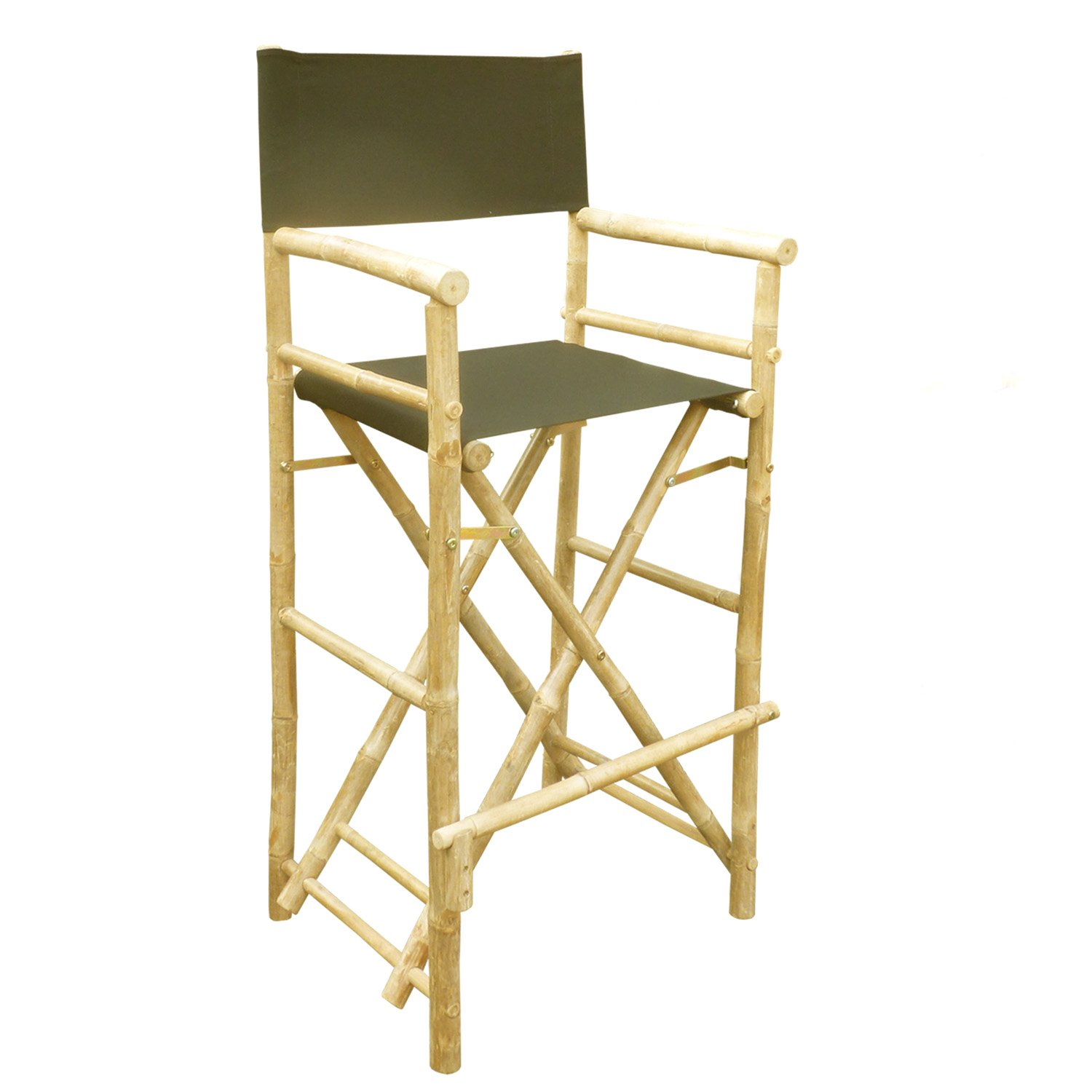 Zew Hand Crafted Tall Foldable Bamboo Director's Chair with Treated Comfortable Canvas, Set of 2 Bamboo Folding Chairs, Black