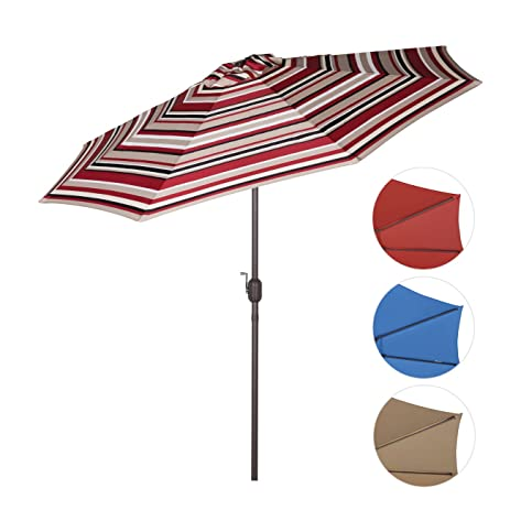 High Quality Sekey 9ft Outdoor Umbrella Red Stripes,Patio Umbrella Red Stripes Market Umbrella  Red Stripes With