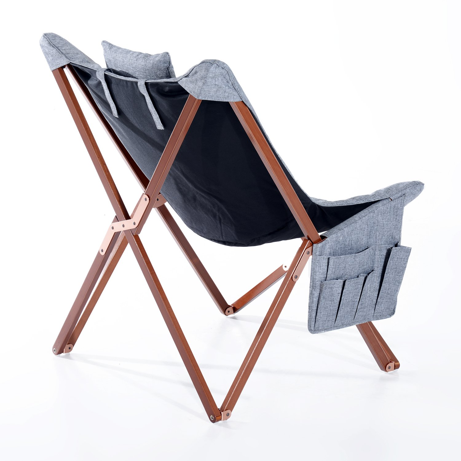 HOM Folding Chair Wooden Frame Picnic Hiking Fishing Camping