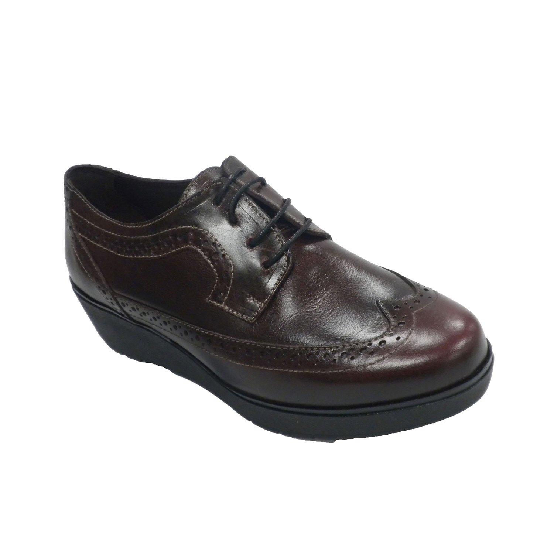 MADE IN SPAIN Zapato Mujer con Cordones Cuña Tipo Inglés Sigo EN Burdeos 40 EU