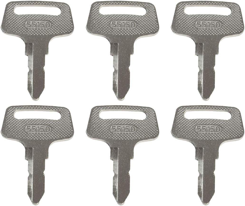 Notonparts Ignition Keys 1900-0916 37410-55150 430-158 6PCS For Kubota F2260 F2560 F2880 F3060 G1800 G1900 G2000 G2160 ZD18 ZD21 ZD25 ZD28 B1550 B1750 B2150 BX1500 BX1800 BX1830 BX22 BX2200 BX2230