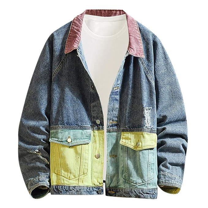 KUHHONG Giacca in Denim da Uomo Patchwork Giacche di Jeans