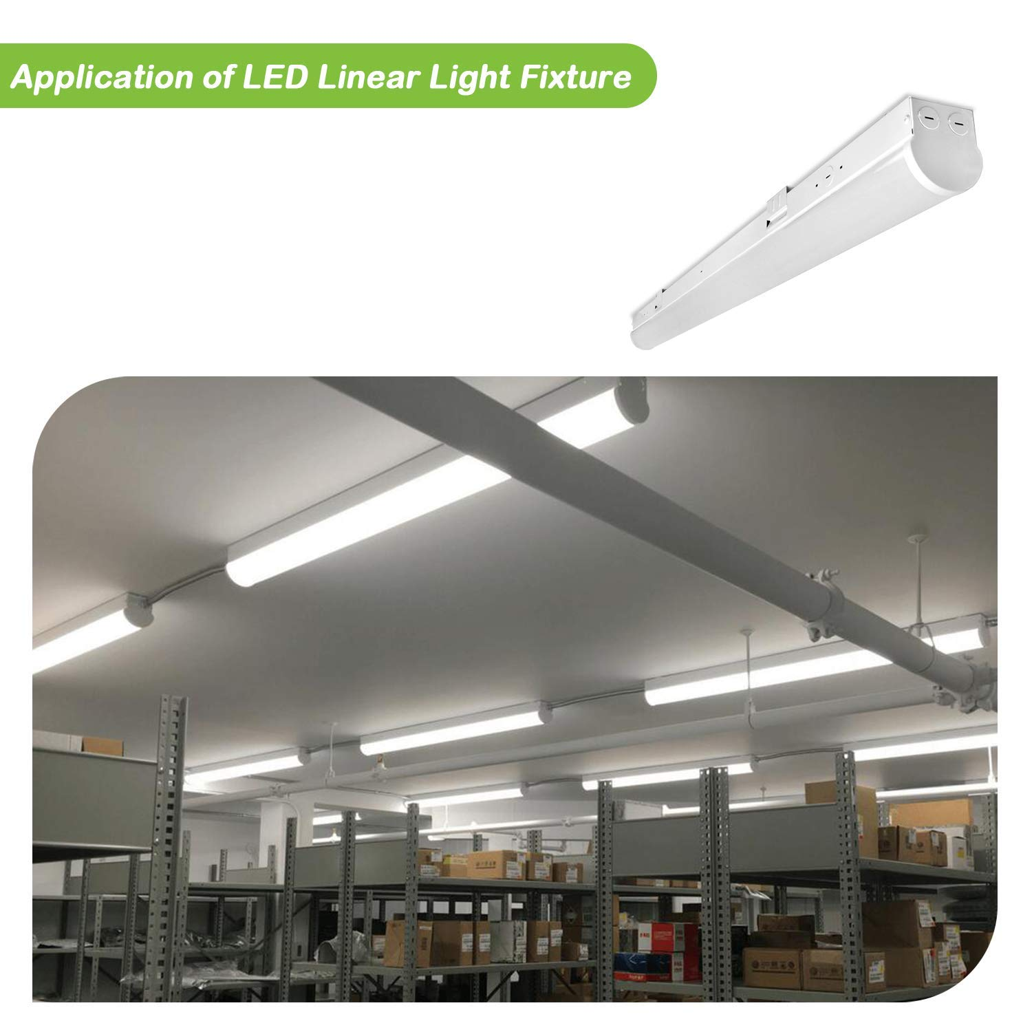 Hykolity 8FT LED Shop Linear Strip Light Fixture Linkable 64W 8400lm Replaces up to 4-lamp 32-Watt T8 fluorescent Tube Low Bay Commercial Industrial 5000K 0-10V Dimmable UL DLC Listed 2 Pack by hykolity (Image #7)