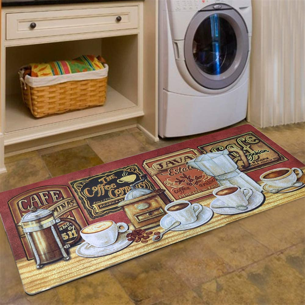 Abreeze Vintage Floor Mat for Washroom Non Skid Rubber Area Rug Farmhouse Carpet Waterproof Bathroom Rugs Laundry Room Mats Kitchen Rug 2x4