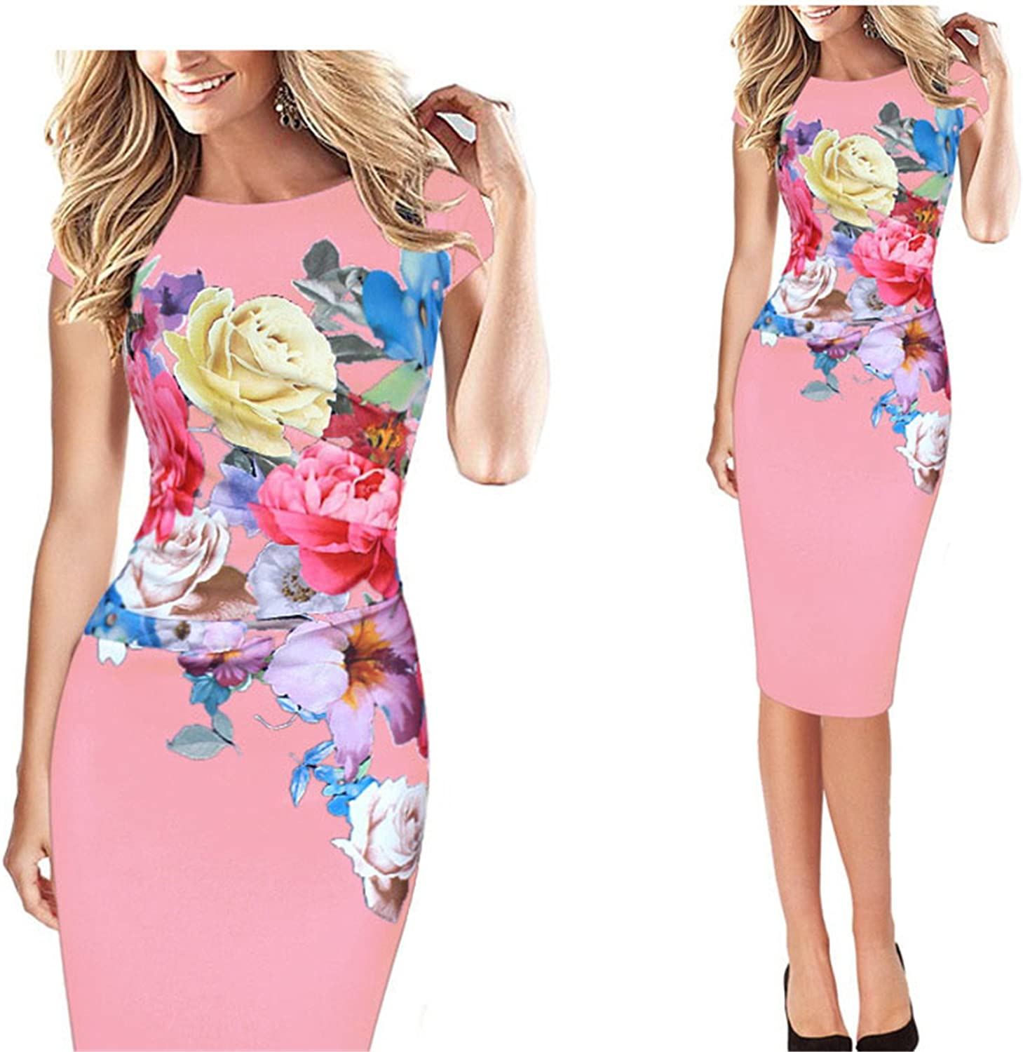 ylovego Womens Elegant Flower Floral Printed Ruched Cap Sleeve Ruffle Casual br