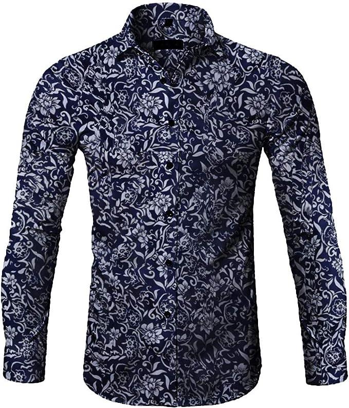 VJGOAL - Camisa de Manga Larga para Hombre con Estampado en T Azul ...