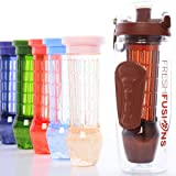 Fresh Fusions Fruit Infuser Water Bottle 32 oz Infusion Water Bottle For Sports Hydration - Comes With Insulated Sleeve + Bonus eBook w/ 25 Healthy Recipes - Now With New Freezer Ball