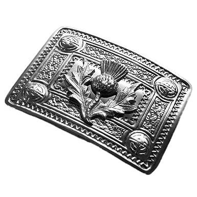 4bd5fee07cbc Tartanista - Boucle de ceinture de kilt - motif chardon - chrome ...