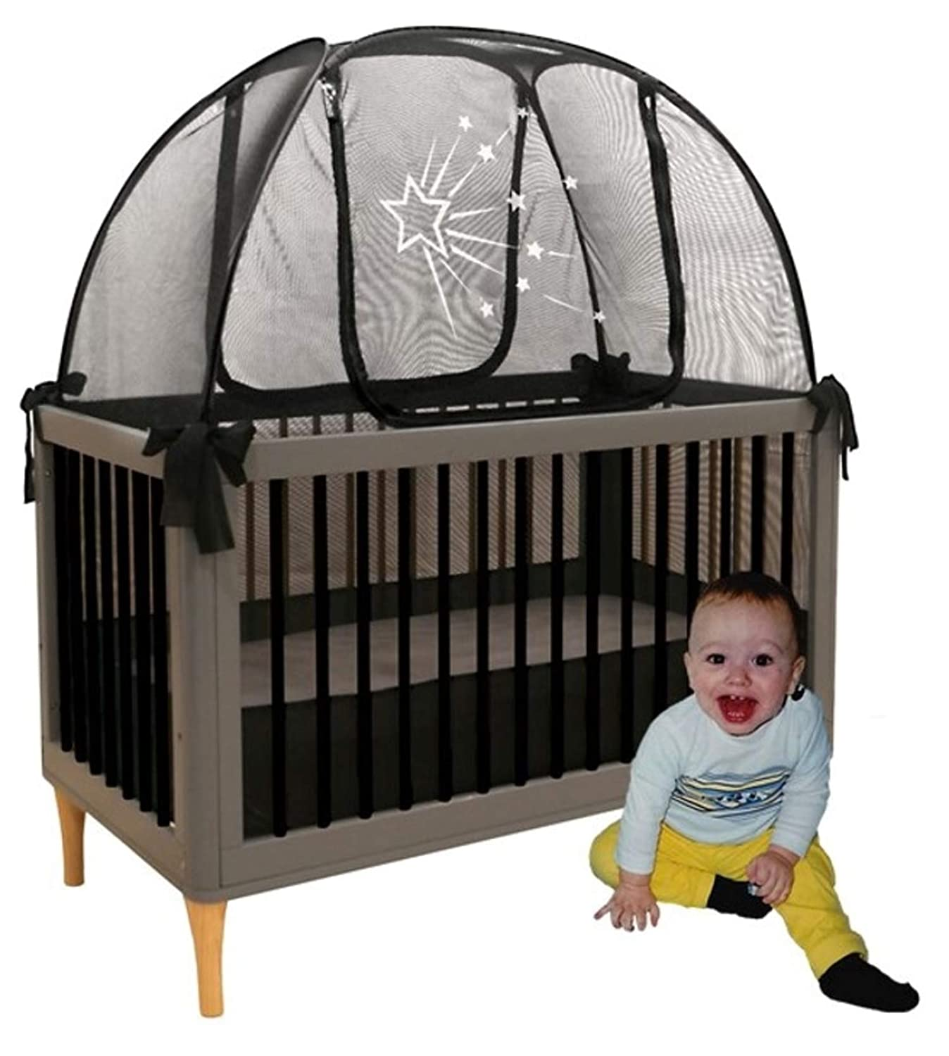 Aussie Cot Net Co Baby Crib Safety Tents - Premium Crib Tent to Keep Baby from Climbing Out - Clear View See-Through Black Crib Netting - Mosquito Net - Pop-up Crib Tent Canopy to Keep Baby in