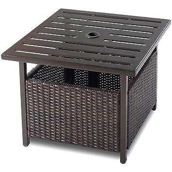 Amazon.com : Giantex Patio Rattan Wicker Umbrella Side Table Stand ...