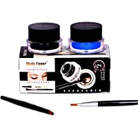 Squared Music Flower Long Wear Gel Eyeliner Smudge Proof & Waterproof (Black And Blue) With 2 Expert Eyeliner Brushes