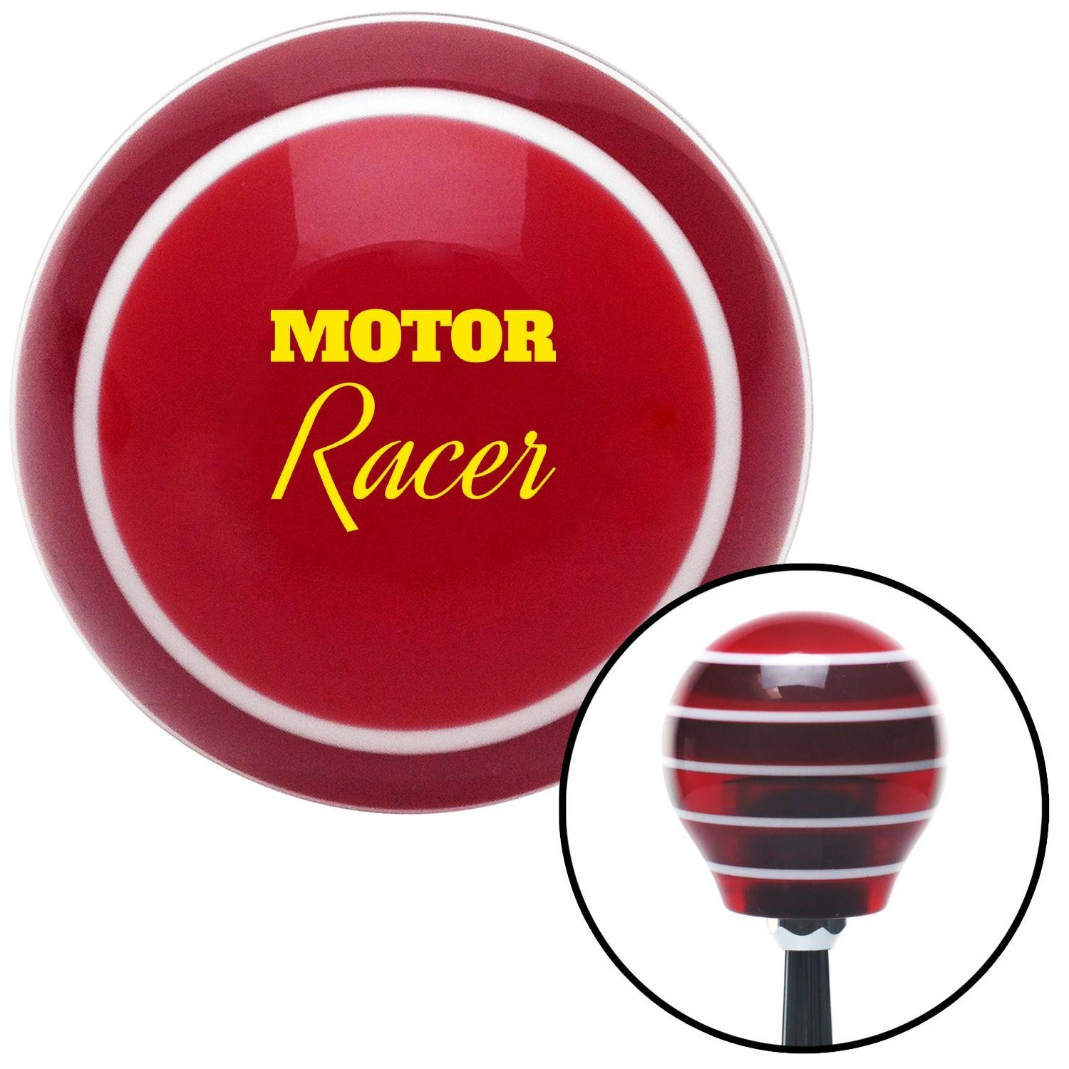 American Shifter 274593 Shift Knob Yellow Motor Racer Red Stripe with M16 x 1.5 Insert