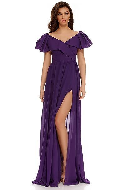 Miss Grey Mujer Ropa de Fiesta Largo Acampanado Cuello en V Volantes Mangas Cortas Elegante Vestido de Noche: Amazon.es: Ropa y accesorios