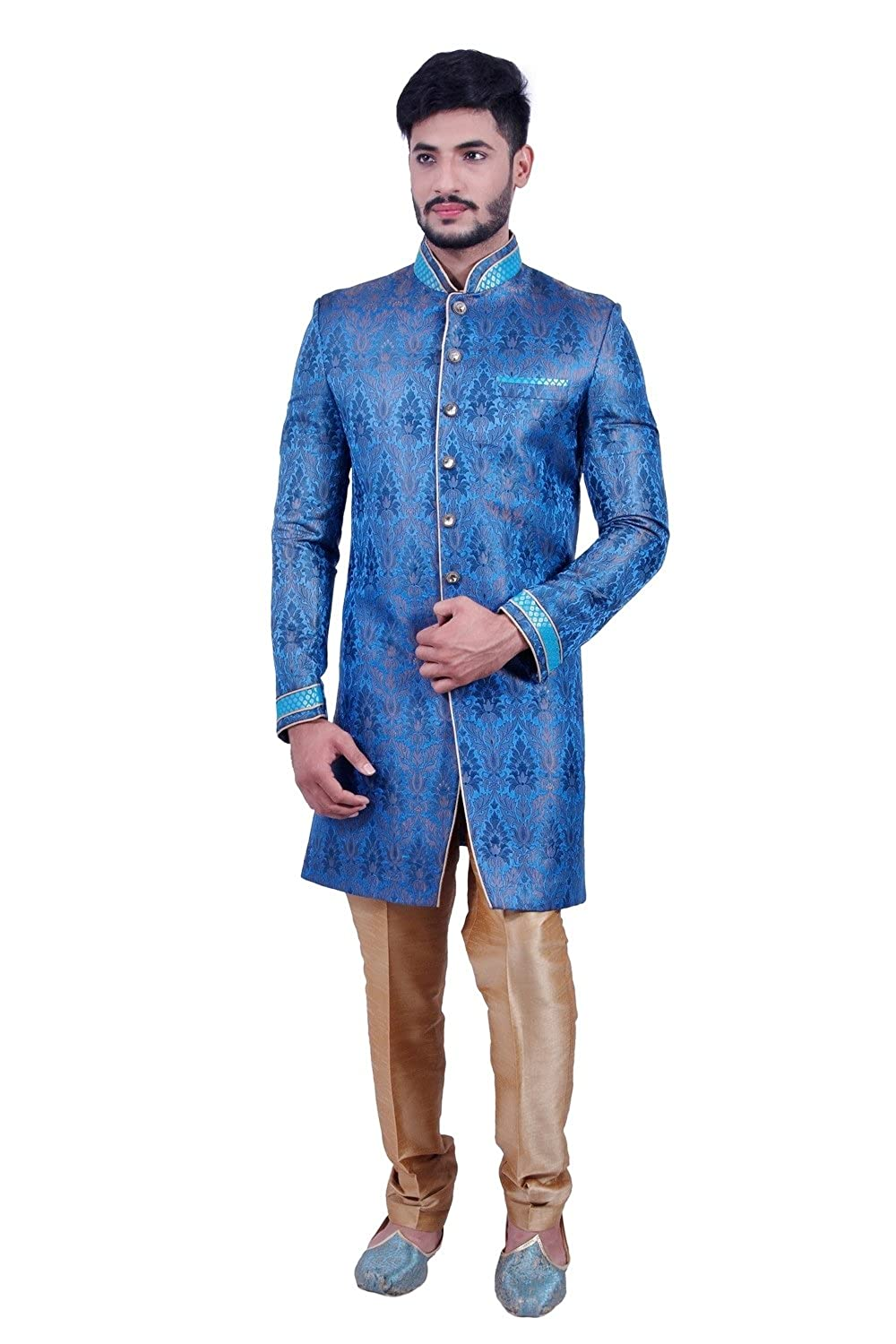 Amazon.com: Electric Blue Indian Wedding Indo-Western Sherwani for ...
