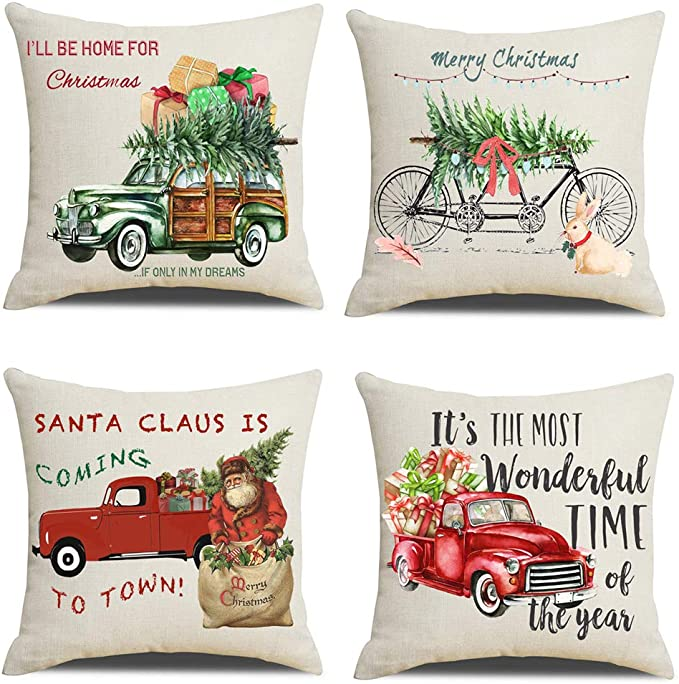 Lanpn Christmas 20x20 Throw Pillow Covers Decorative Outdoor Farmhouse Merry Christmas Xmas Red Truck Pillow Shams Cases Slipcovers Cover Set Of 4 Couch Sofa Home Kitchen Amazon Com