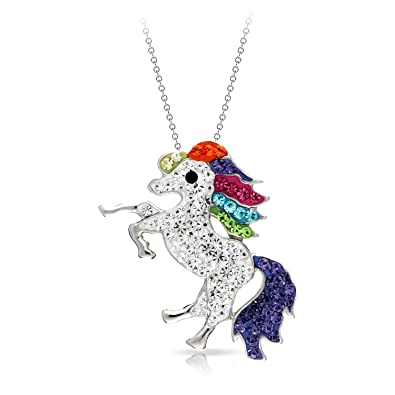 BLING BIJOUX Colorful Rearing Horse Pendant Necklace Never Rust 925  Sterling Silver Natural and Hypoallergenic Chain 0a8684d45ec6