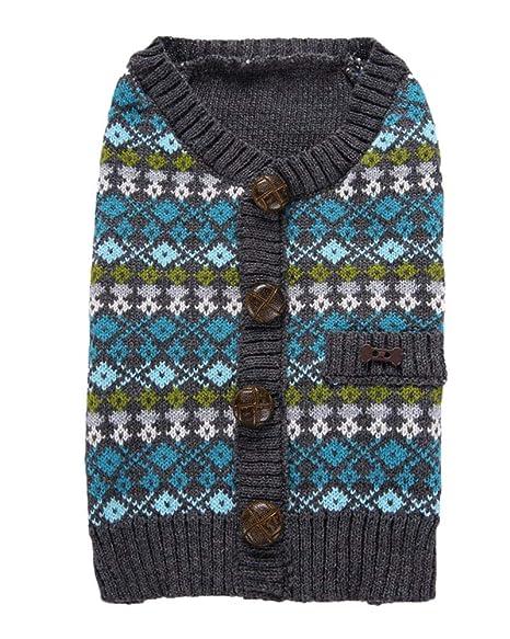 Ropa Suéter para Perros Abrigos Camiseta Jerseys Mascota Perro Gato Cálido Suéter Abrigo Azul L