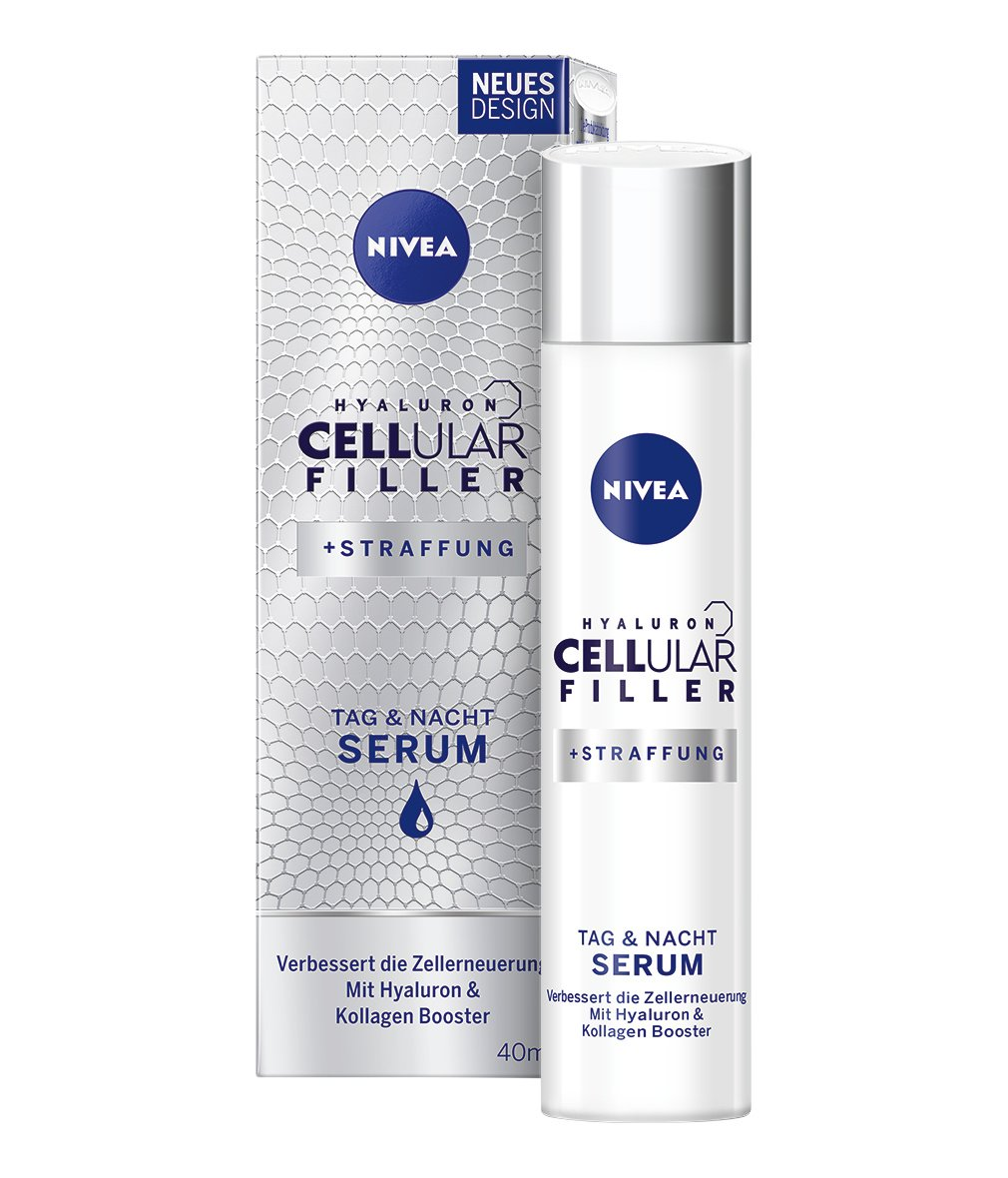 NIVEA Hyaluron CELLular Filler Anti-Age Serum (1 x 40 ml), Anti Falten Creme für Tag und Nacht, zellaktivierende Feuchtigkeitscreme, Gesichtscreme mit Hyaluron 82388-01000-07