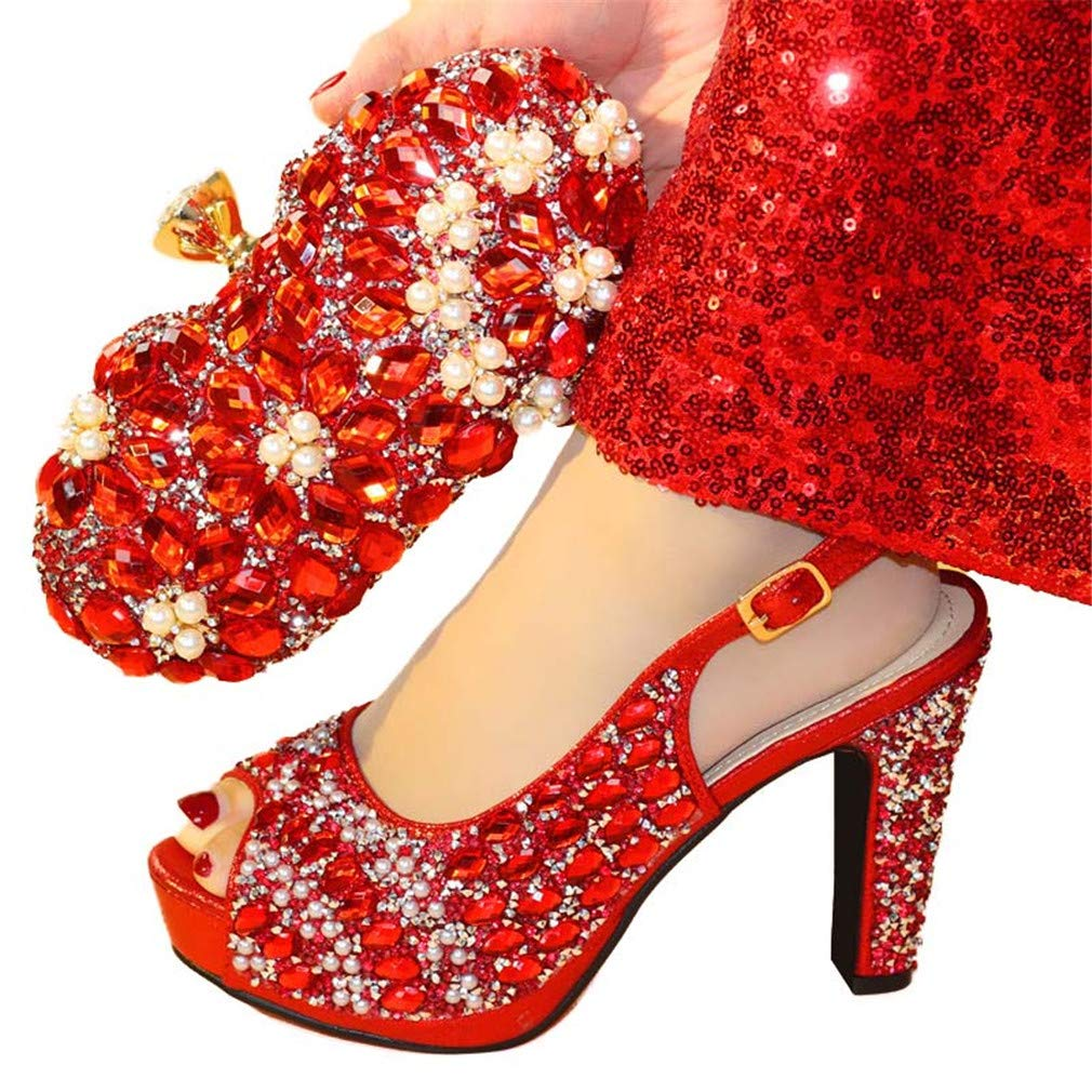 Shoes and Bag Set Silver Color Women Shoe and Bag Italy Shoes and Bag Matching Wedding Shoes and Bag Red 42