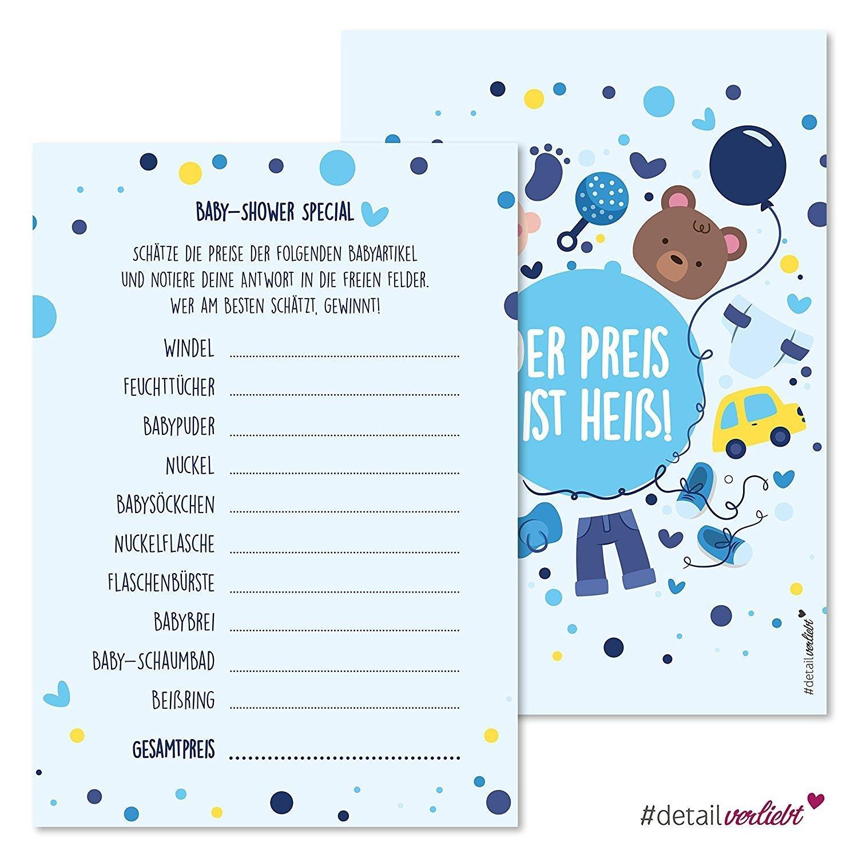 15 Spiel-Karten zur Baby-Party I dv_161 I DIN A6 I Set Baby-Party blau Junge Boy Invitations Spiele Quiz Preise schätzen easydruck24de