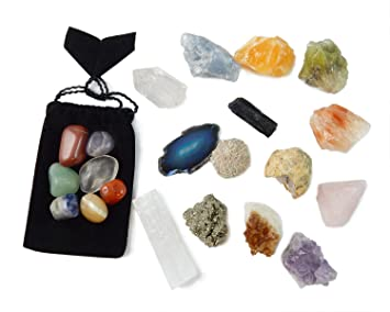 ac8a07b19 21 Healing Crystals and Chakra Kit: Amethyst, Selenite, Pyrite, Clear  Quartz,