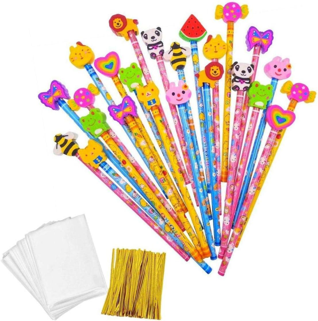 JZK Set 24 lápiz de Madera con Goma lápices Grafito con Borrador para niños Infantiles Fiesta Regalo cumpleaños Navidad Bautizo comunión premios Escolares
