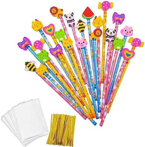 JZK Set 24 lápiz de Madera con Goma lápices Grafito con Borrador para niños Infantiles Fiesta Regalo cumpleaños Navidad Bautizo comunión premios Escolares: Amazon.es: Juguetes y juegos